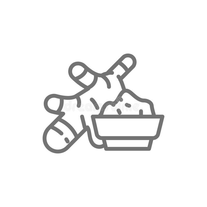 Inlagd ingefära, kryddig krydda linje symbol stock illustrationer
