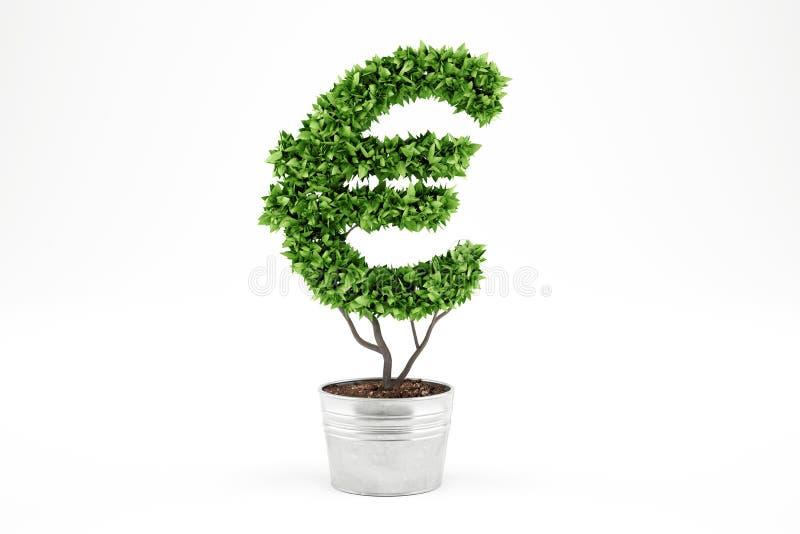 Inlagd växt med eur-form framförande 3d arkivfoton