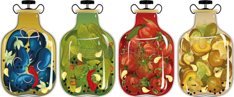 Inlagda grönsaker och champinjoner royaltyfri illustrationer