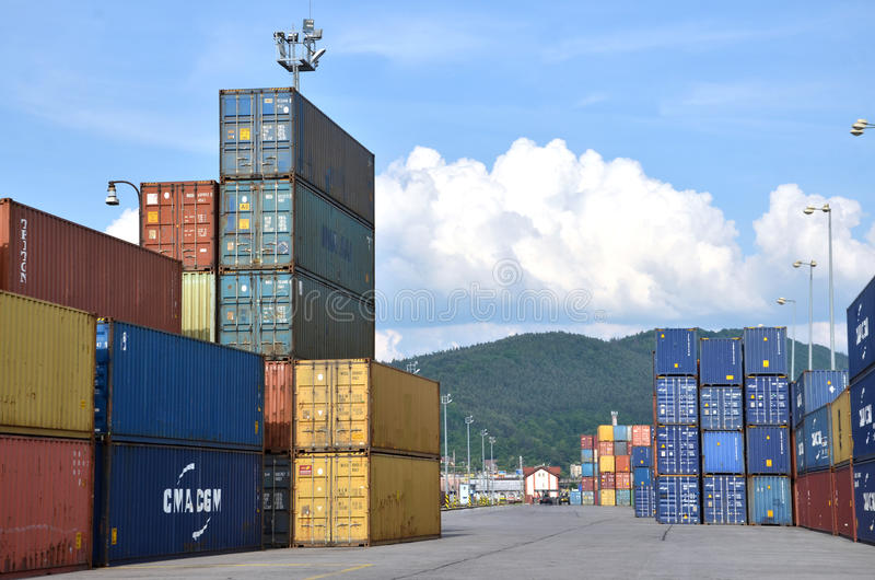 Inland container terminal where cargo containers are transshipped between train and truck royalty free stock photos