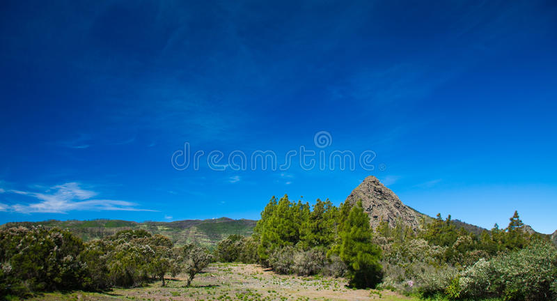 Inland La Gomera. Approach to Los Roques - Group pf volcanic plugs in the middle of the island stock image