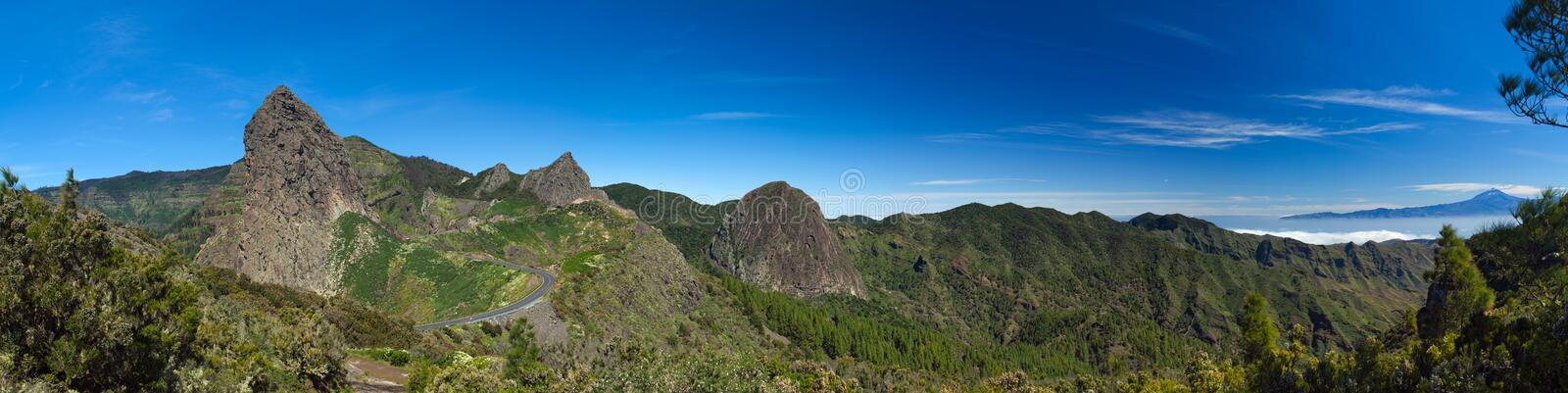 Inland La Gomera. Approach to Los Roques - Group of volcanic plugs in the middle of the island royalty free stock images