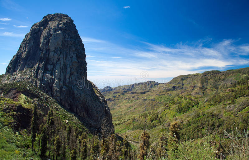 Inland La Gomera. Roque Agando, volcanic plug in the middle of the island royalty free stock images