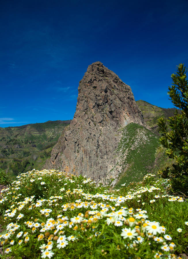 Inland La Gomera. Roque Agando, volcanic plug in the middle of the island royalty free stock image