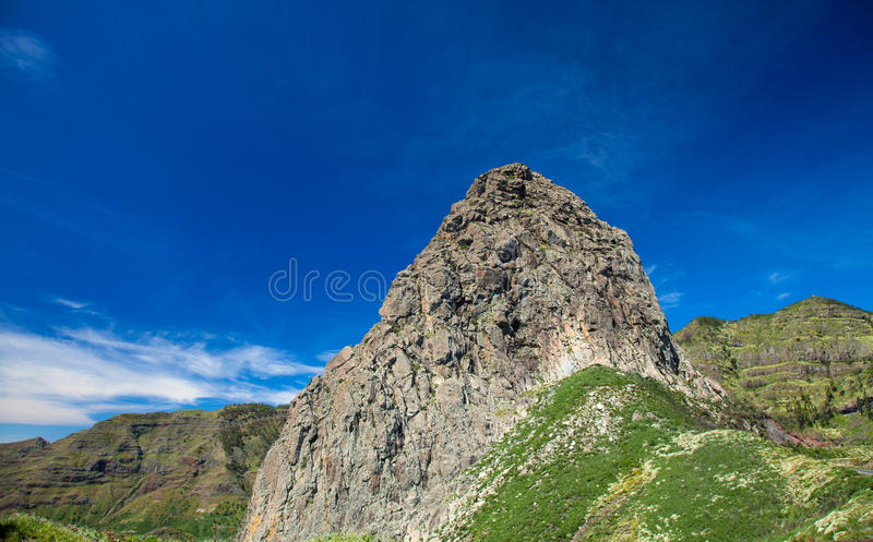 Inland La Gomera. Roque Agando, volcanic plug in the middle of the island royalty free stock photos