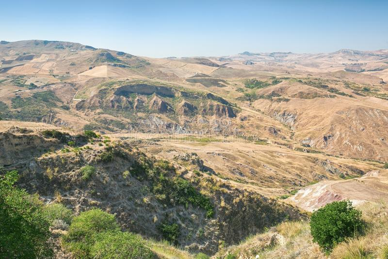 Inland landscape of Sicily in summer day, Sicily island Italy. Inland mountain landscape of inner Sicily in summer day, Sicily island royalty free stock photos