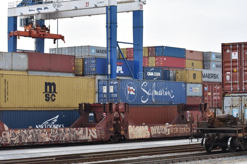 Inland Port Greer of South Carolina Ports Authority. Inland Port of South Carolina Ports Authority where inter-modal freight is shipped by rail to and from the royalty free stock photography