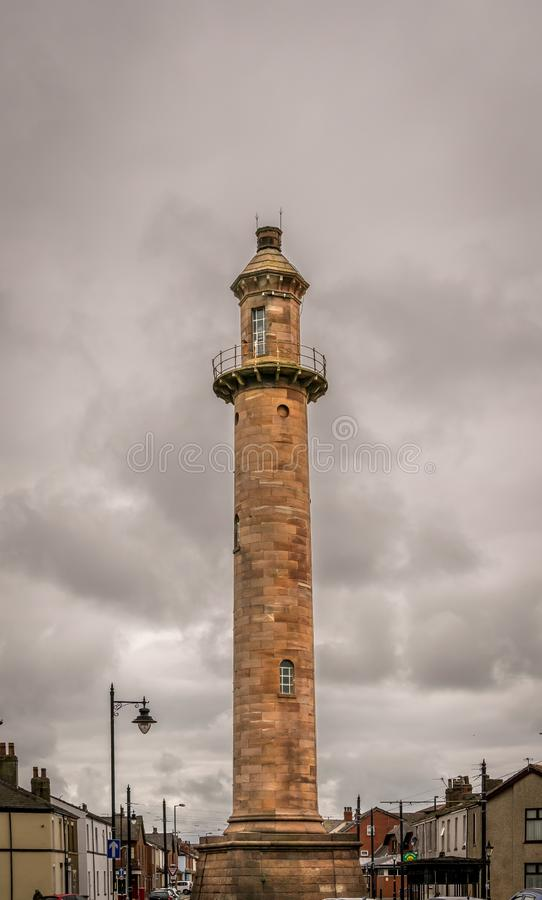 Inland sandstone lighthouse on a stormy cloudy day in Fleetwood royalty free stock image