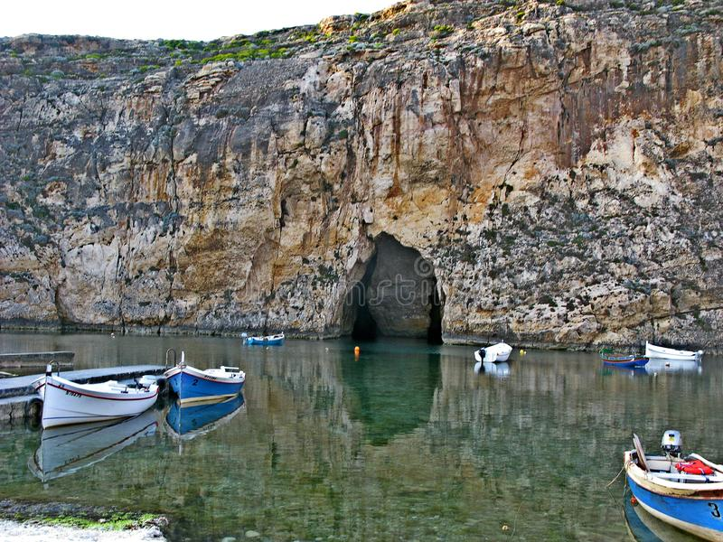 Inland sea Divesite, Gozo. The Inland Sea, sometimes called Qawra in Maltese and also known as Dwejra, is a seawater lagoon on the island of Gozo linked to the royalty free stock images