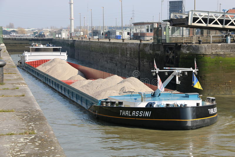 Inland Shipping. Transporting goods throughout the network of european waterways stock photography