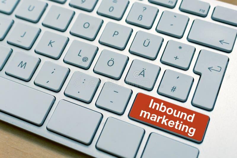 Inlandsmarketing-Knopfknopf geschrieben auf Laptop-Computer Tastatur stockfoto