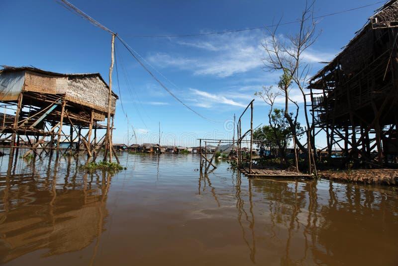 Inle湖的浮动的村庄缅甸的 库存照片