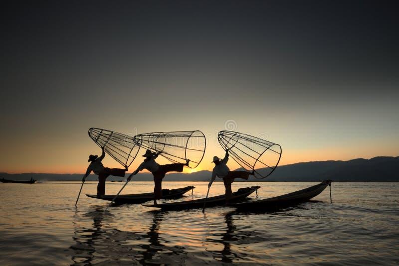 从Inle湖的渔夫缅甸的 免版税库存照片