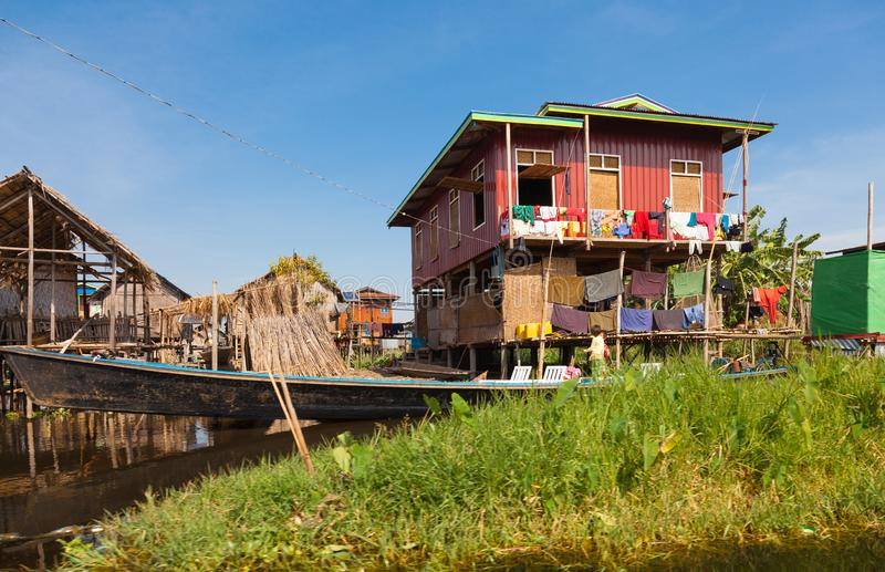 Inle湖的渔村在缅甸 免版税库存照片