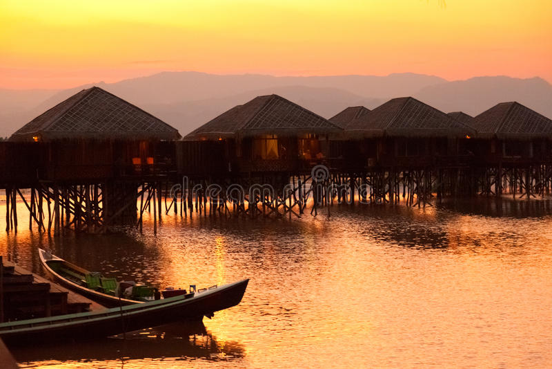 Inle湖的,缅甸豪华旅馆 免版税图库摄影