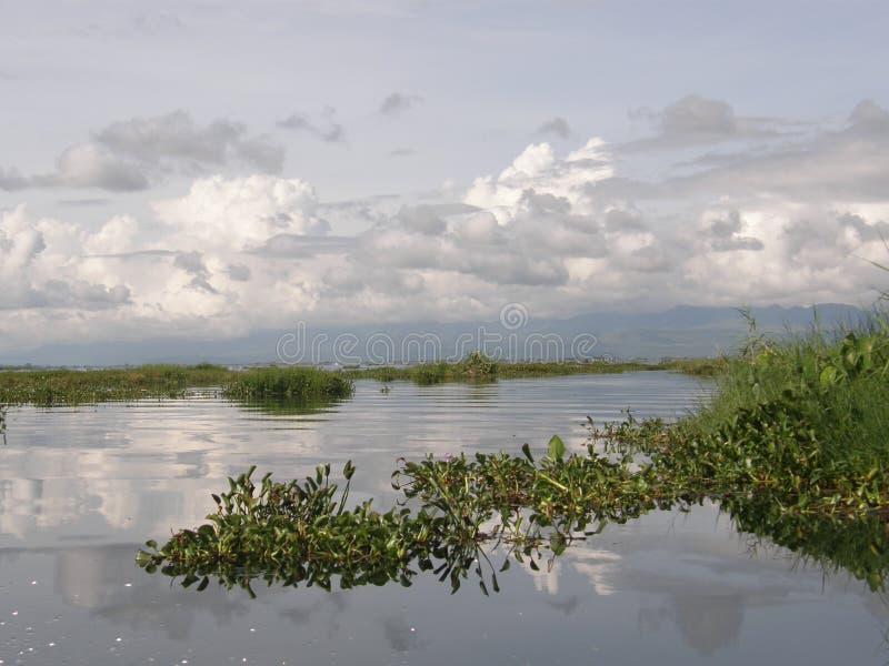 从Inle湖缅甸的看法反射 免版税库存图片