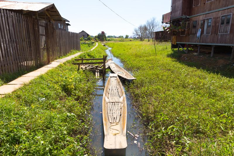 Inle湖,缅甸浮动村庄  库存图片