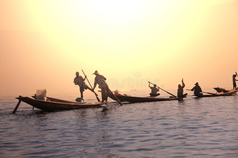 Inle lake. Boats on Inle Lake,Myanmar royalty free stock photos