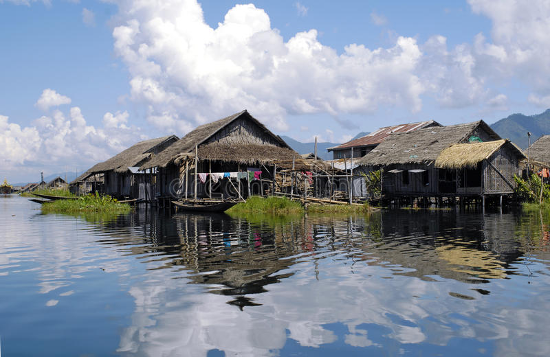 Inle Lake, Burma. Inle Lake is a freshwater lake located in the Shan Hills in Myanmar (Burma). Some people life on the lake itself in small villages stock photo