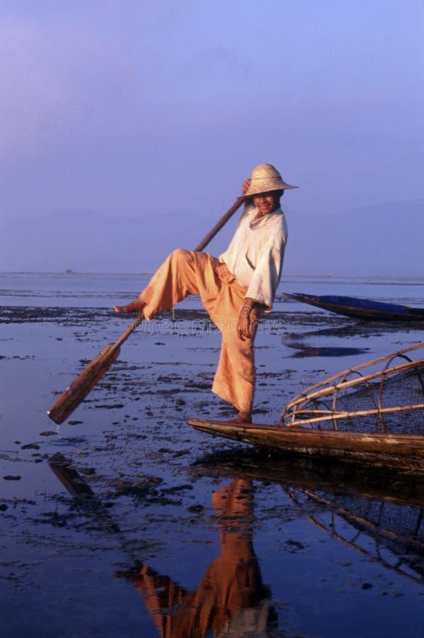 Inle Lake, Myanmar, leg rower fisherman stock photos