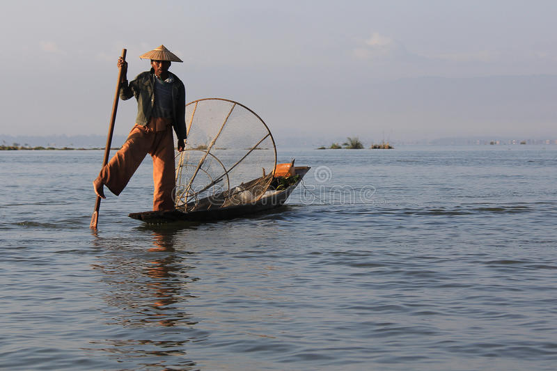 Inle Lake fisherman royalty free stock photography