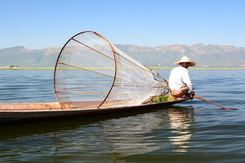 The traditional fishing net. Inle lake. Myanmar royalty free stock photo