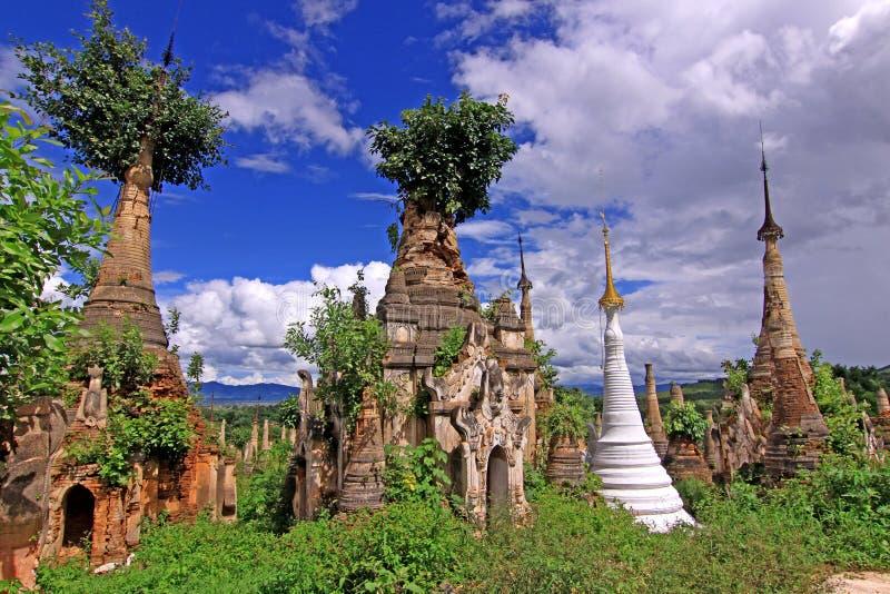 Inle Lake Myanmar - Indein Pagodas royalty free stock photo