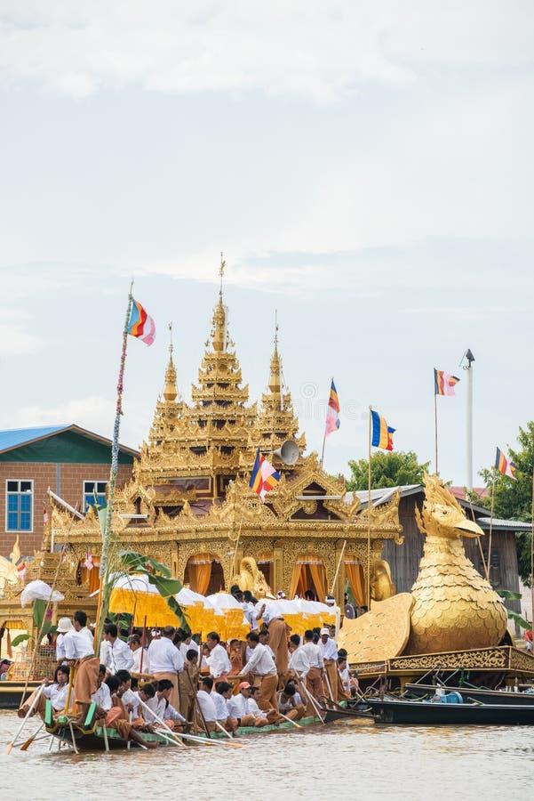 INLE-LAKE, MYANMAR - OCT 06 2014: The festival of Phaung Daw Oo Pagoda at Inle Lake royalty free stock image