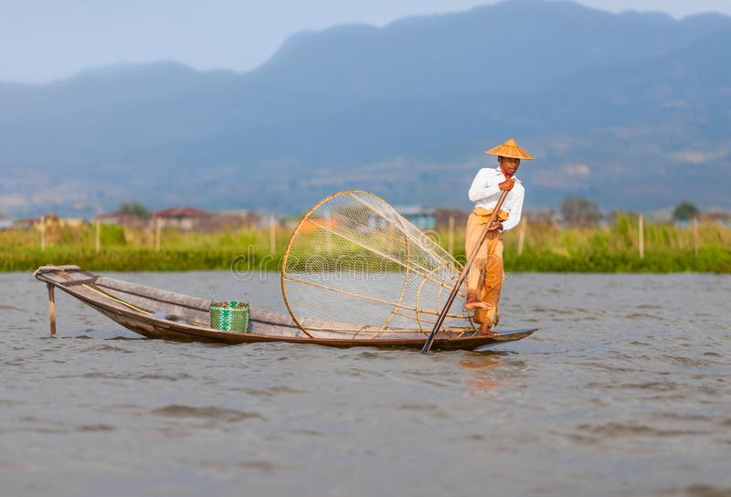 Inle Lke Fisherman from Intha ethnic group royalty free stock image