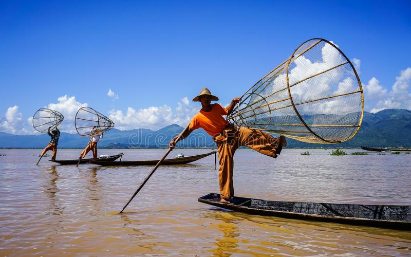 Landscape of Inle Lake, Myanmar. Inle, Myanmar - Oct 17, 2015. Intha people catch fish on Inle Lake, Myanmar. Inle Lake is a shallow lake in the middle of royalty free stock images