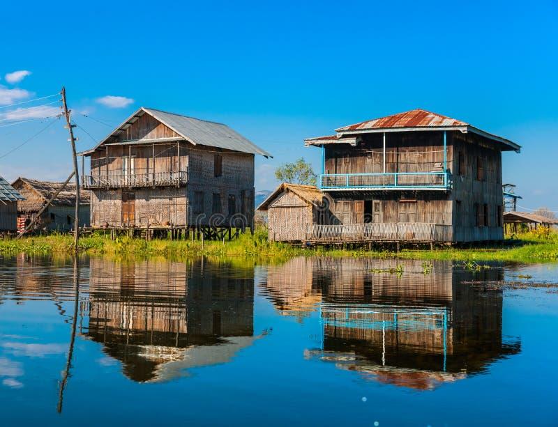 Inle sjö, Myanmar. royaltyfri bild