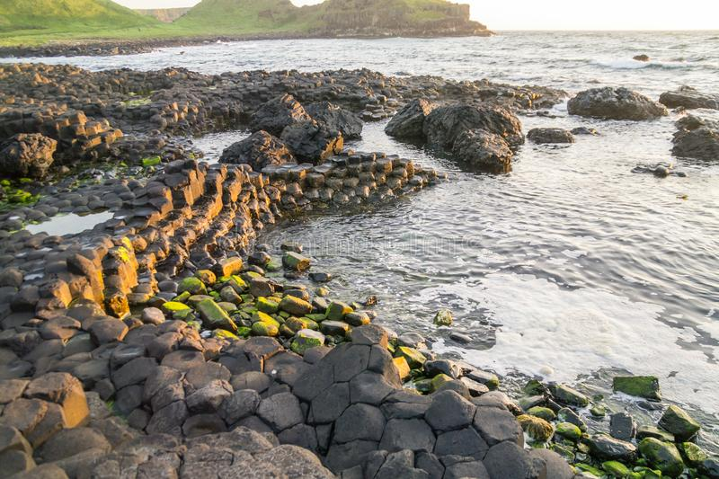 An inlet on the Giant`s Causeway, Northern Ireland stock photography