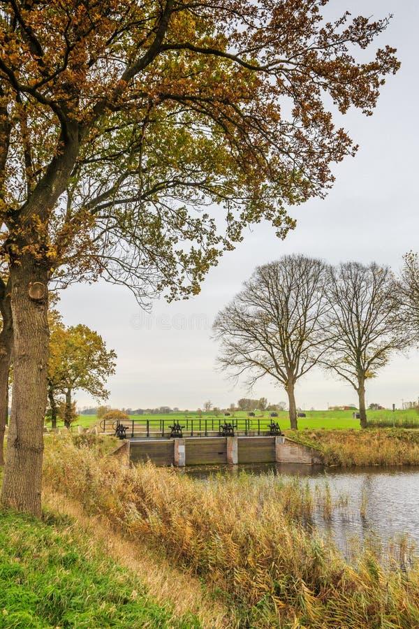 Part of Historical Dutch defense line, Nieuwe Hollandse Waterlinie,. Inlet sluice of Fort Everdingen for the flooding of the Nieuwe Hollandse Waterlinie with stock photos