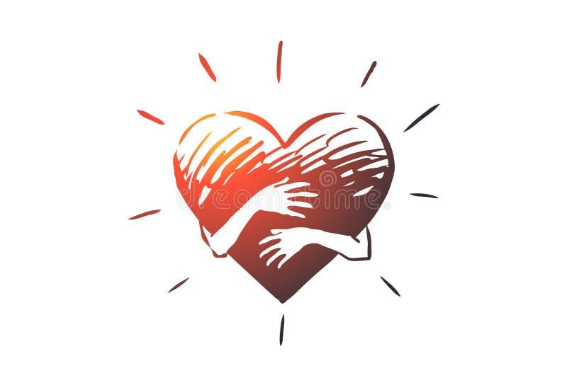 Inlevelse hjärta, förälskelse, välgörenhet, servicebegrepp Hand dragen isolerad vektor stock illustrationer