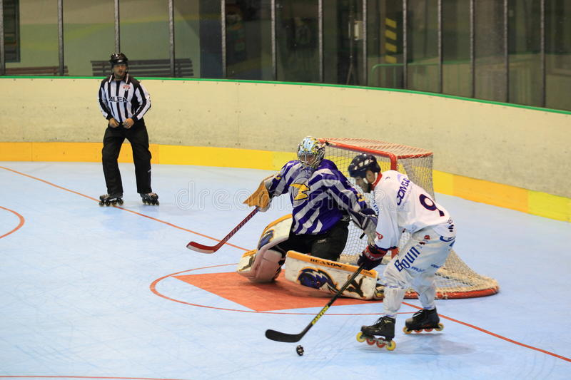 Inline hockey. Josef Ondrejka against the chance in the quarterfinal of czech inline extraleague between IHC Beroun and IHC Uhersky Brod played in Prague on 22.6 stock photography
