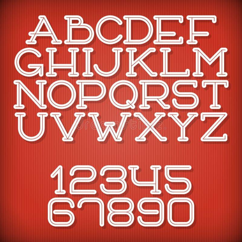 Inline Retro Font vector illustration