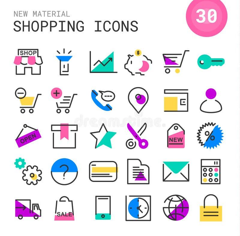 Inline shoppingsymbolssamling vektor illustrationer