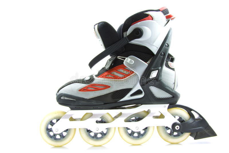 Inline skate. With brake isolated over white royalty free stock photography