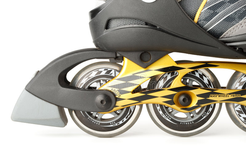Inline skate. S on a white background. Close up stock images