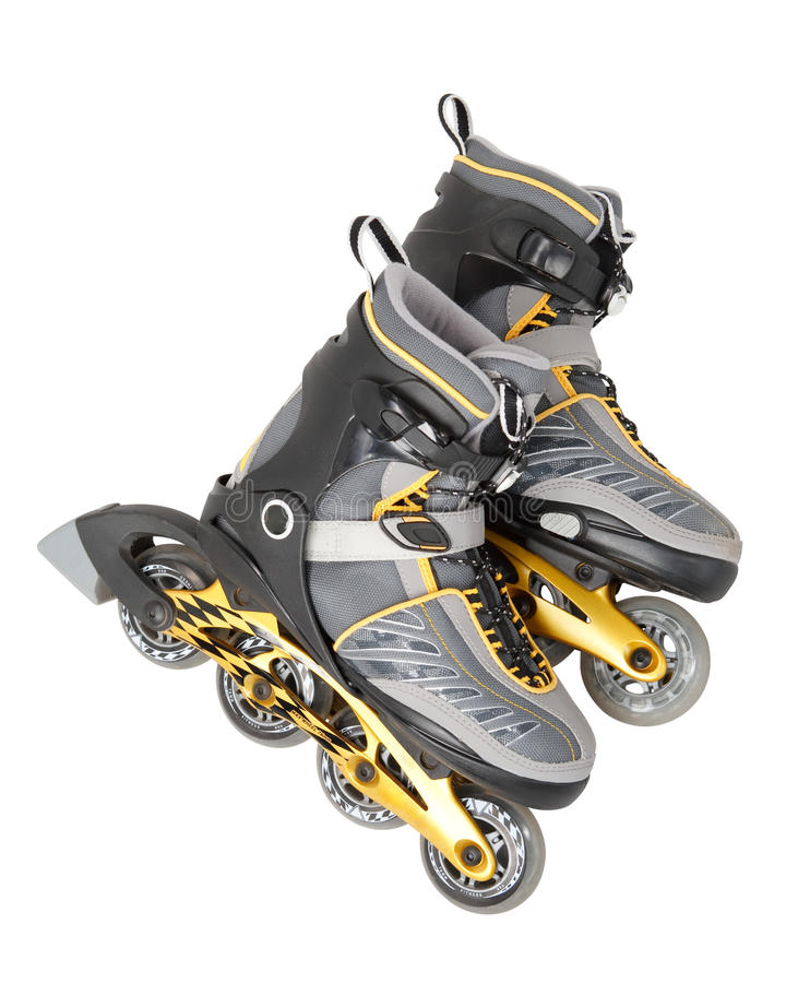 Inline skate. S on a white background. Close up stock photo