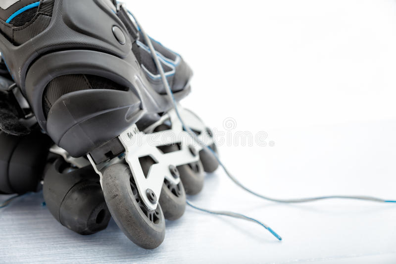 Inline Skate Rollerblade. Close up view, on white, of inline skate or rollerblade stock photography