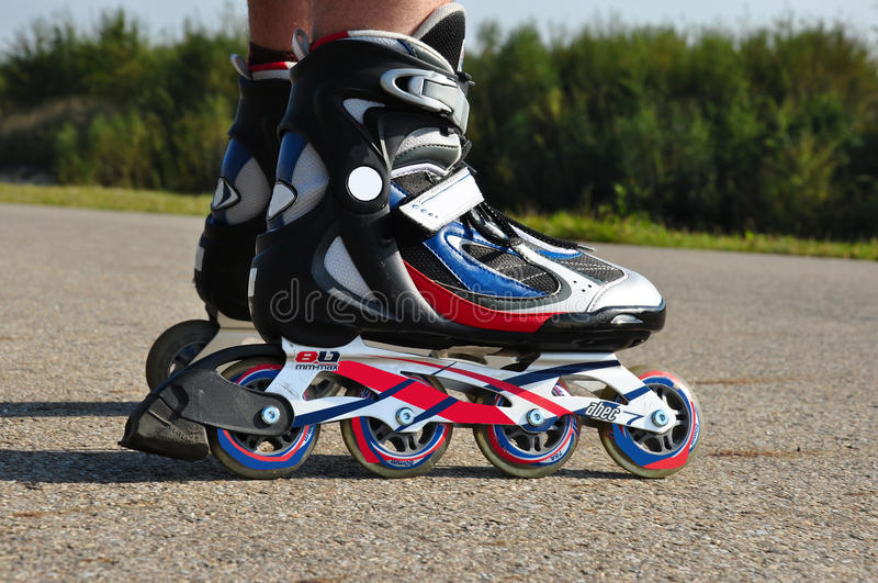 Inline Skates. Photo of inline skates made outside during ride royalty free stock photo