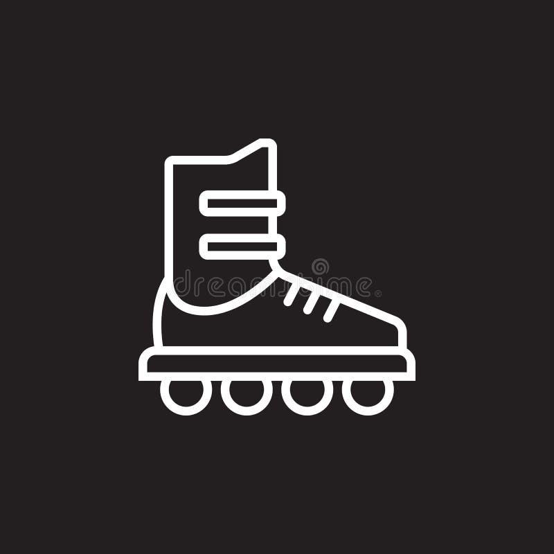 Inline skridskolinje symbol, tecken för rullöversiktsvektor, linjär pictogram som isoleras på svart royaltyfri illustrationer