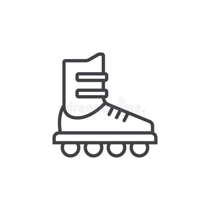 Inline skridskolinje symbol, tecken för rullöversiktsvektor, linjär pictogram som isoleras på vit stock illustrationer