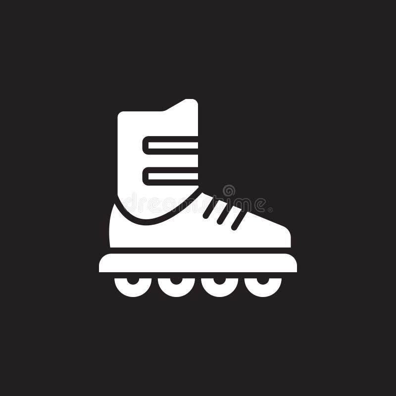 Inline skridskosymbolsvektor, tecken för rullheltäckandelägenhet, pictogram som isoleras på svart royaltyfri illustrationer