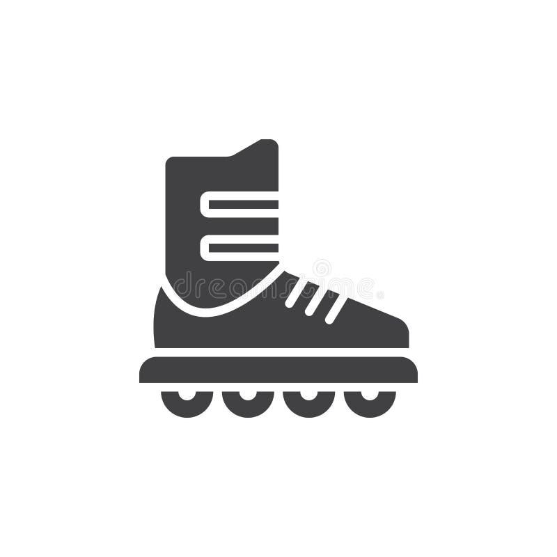 Inline skridskosymbolsvektor, tecken för rullheltäckandelägenhet, pictogram som isoleras på vit stock illustrationer