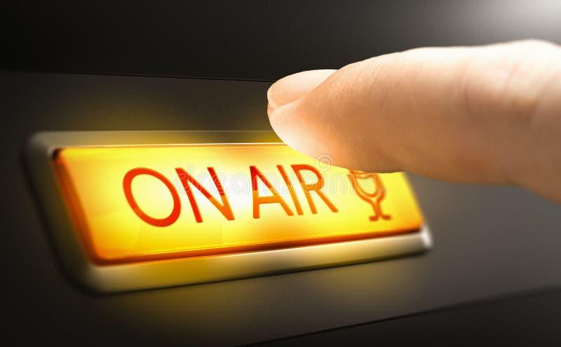 Inloggen in de lucht, Radio Studio-concept stock afbeeldingen