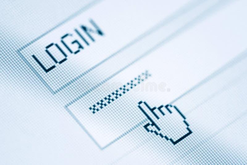 Inloggning och lösenord arkivbilder