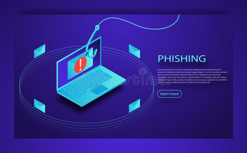 Inloggningen in i konto i emailkuvert och fiske hakar Phishing svindel, en hackerattack och rengöringsduksäkerhetsbegrepp royaltyfri illustrationer