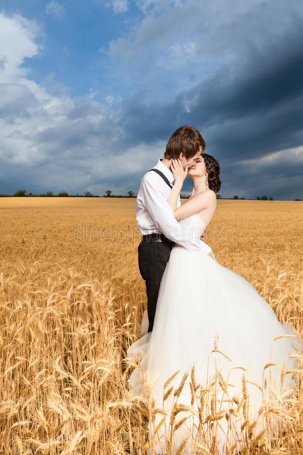 Inlove bride and groom in wheat field with dramatic sky in the b. Inlove bride and groom in wheat field with dramatic blue sky in the back. Happy just married royalty free stock images
